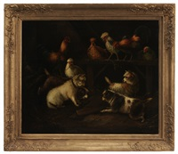 cairn terriers with chickens in a barn by george armfield