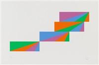 aus: transcoloration in fünf quadraten / gleiche farbquanten um drei achsen 1976 (2 works) by max bill
