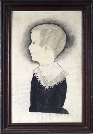 profile portrait of a young boy wearing a lace collar by mary b tucker