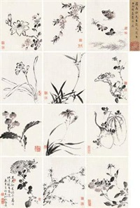 蛱蝶花果册 (album of 12) by jiang tingxi