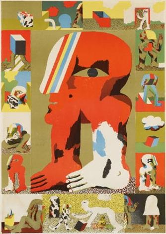 plakat baden baden 1967 ohne titel color lithograp smllr 2 works by horst antes