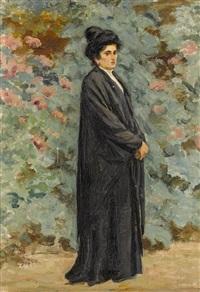 bildnis einer eleganten dame im garten by sigismund righini