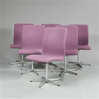 oxford swivel chairs (model 3171) (set of 6) by arne jacobsen