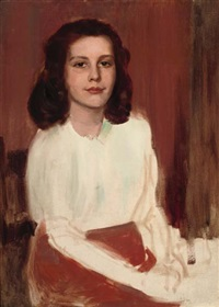 portrait of a girl, seated three-quarter-length, in a white blouse by sydney adamson