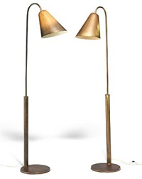 floor lamps with adjustable height (pair) by frits schlegel and vilhelm lauritzen