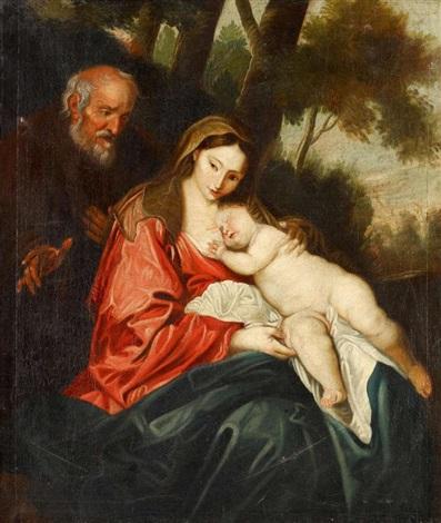 heilige familie bei der ruhe auf der flucht by sir anthony van dyck