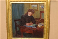 girl seated at a desk, writing by ernest higgins rigg