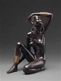 hockende afrikanerin by leopold anzengruber