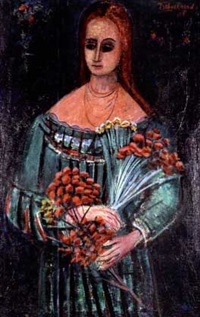 woman with red flowers by nahum tschacbasov