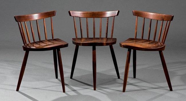 Three George Nakashima Walnut Mira Chairs By George Nakashima