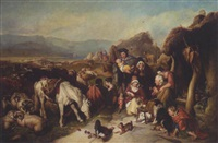 a scene in the grampians - the drovers' departure by william charles fisher