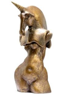 weiblicher torso mit dem kopf eines einhorns (in 2 parts) by gernot rumpf
