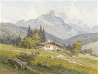 sommerliche alp mit bauernhaus by ernst carl walter retzlaff