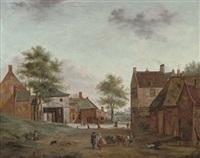 a farmstead with figures conversing by hendrik frans de cort