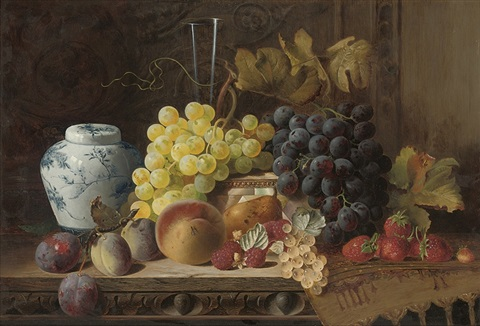 a ginger jar with plums a peach pear raspberries and white currants by charles e baskett