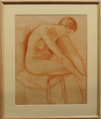 study of a female nude seated; female nude seated on a chair; female nude kneeling (3 works) by imre goth