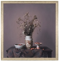 still life with flowers in vase by liu yingzhao