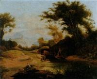 sommerliche landschaft mit teich by joseph roedler