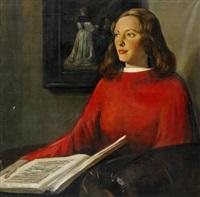 porträtt föreställande konstnärens styvdotter paulina viola de boer by han van meegeren