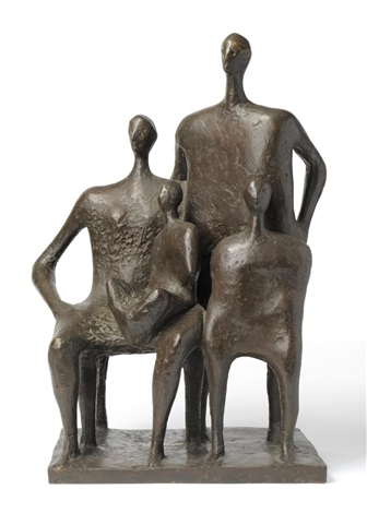a seated woman with child on lap standing man and child by henry moore