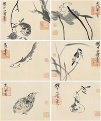 拟八大小品 (六幅) (flower and bird) (set of 6) by xu jianrong