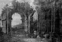 capriccio landscapes with figures beneath classical ruins by francesco aviani