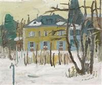 winterlandschaft mit villa by alexandre rochat
