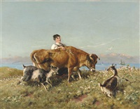 milkmaid with jersey cow and goats on a sunlit cliff top by william woodhouse