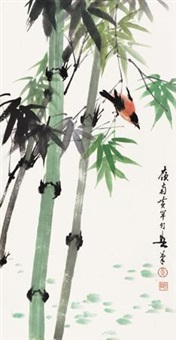 竹林翠鸟 by huang huanwu