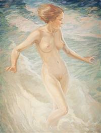 bathing girl by oskar gross