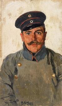 porträt eines deutschen offiziers in china (werner von pappenheim?) by theodor rocholl