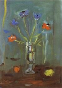 blumenstilleben mit anemonen in einer glasvase by alexandre rochat