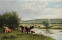 drinking time (weite landschaft mit kühen am flussufer) by william frederick hulk