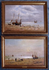 fishing boats moored on a beach with figures and animals looking on (pair) by william alexander kennedy martin