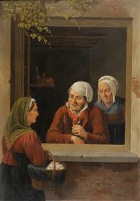 two ladies and a gentleman beside a window by constantinus-fidelio coene