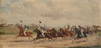 ungarsk hestemarked (2 stk.) by jan wolski