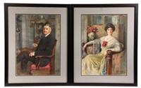 portraits of frank w. woolworth and his wife jennie (pair) by tony binder