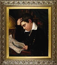 the artist's son james whiting metcalf aged twelve, studying geography by eliab metcalf