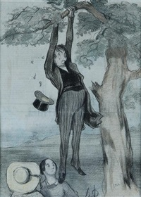 colored lithographs (6 works) by honoré daumier