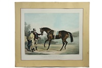 ghunzee, winner of the oaks, 1845; with characteristic portraits of mr. john scott & mr. william scott (engraved by i.r. mackrell) by francis calcraft turner