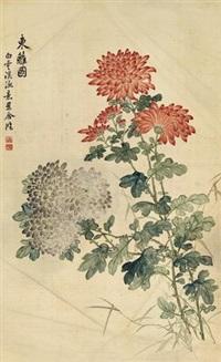 东篱图 立轴 设色绢本 by ma jiatong