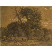 a shepherdess and her flock, barbizon (+ the forest of fontainebleau; 2 works) by frans slager