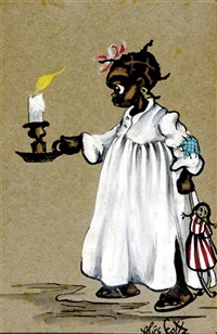 young black girl with candle and doll by alice scott