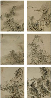 landscapes in ancient styles (album w/10 works) by shen shichong