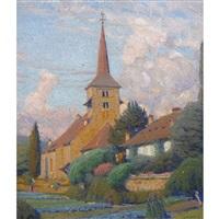 sommerliche gärten mit kirche by jean philippe edouard robert