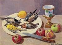natura morta con uccellini e mele by ugo bartolena