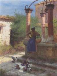 feeding pigeons at the well by edward docker