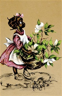 young black girl with basket of flowers by alice scott