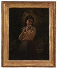 the annunciation, young woman holding dove in a landscape by william mulready