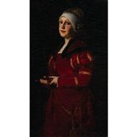 schauspielerin in rotem kostüm by paul robert